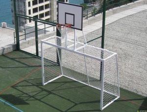 Ворота для мини-футбола/гандбола с баскетбольным щитом.